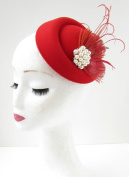 Red Ivory Feather Pearl Pillbox Hat Fascinator Vintage Headpiece 1940s Races B64 *EXCLUSIVELY SOLD BY STARCROSSED BEAUTY*