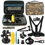PULUZ 20 in 1 Accessories Combo Kit with Camouflage EVA Case (Chest Strap + Head Strap + Suction Cup Mount + 3-Way Pivot Arm + J-Hook Buckles + Extendable Monopod + Tripod Adapter + Bobber Hand Grip + Storage Bag + Wrench) for GoPro HERO4 Session /4 /3 ..