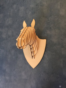 Large/ Small Wooden Horse Trophy Animal Head Wall Art Kids - Laser Cut