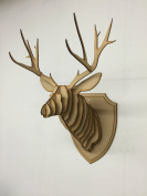 Large/ Small Wooden Deer Head Wall Art Decor - Laser Cut MDF Stag Head Antlers