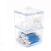 Oriskey Stackable Square Clear Acrylic Cotton Swabs and Ball Holder Box / Makeup Cosmetics Pads Organiser / Q-tip Storage Case