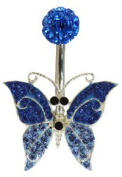 Piercing Navel Ring Butterfly Design with CZ Stones. Available in various colours