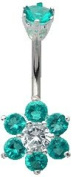 Surgical Steel Belly Bar with CZ Crystals and 10 mm Flower Design - Available in Multiple Colours