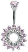 Belly Ring with 6 mm with Swiss Crystals Belly Bar - Body Jewellery - Navel Jewellery - Silver Plated Belly Bar