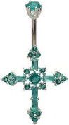 Belly Ring with Crystal Cz Crystal Cross Design 10 mm