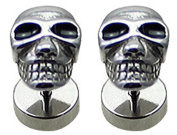 Pair (2 pieces) of Surgical Steel 316L Fake Plugs - SKULL - the post is 1.2mm so can use with normal ear piercing