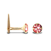 Jewelco London Ladies 9ct Yellow Gold Pink Round Cubic Zirconia Solitaire Claw Set Nose Stud