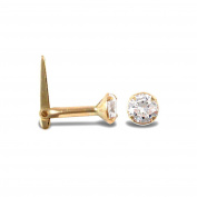 Ladies 9ct Yellow Gold White Round Cubic Zirconia Solitaire Claw Set Nose Stud