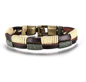 Leather Surfer Braided Rope Double Line Vintage Wristband Bracelet