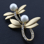 Ukerdo Double Dragonfly Wedding Brooch Vintage Pearl Pin Brooches for Women