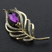 Ukerdo Leaf Brooches Rhinestone Jewellery Brooch Pins Shirt Collar Accessories