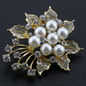 Rhinestone Pearl Wedding Brooches Pin Flower Brooch for Women Gifts