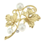 Ukerdo Rose Gold Leaf Brooch Vintage Wedding Pearl Pin Brooches Decorative