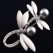 Ukerdo Vintage Double Dragonfly Wedding Brooches Pearl Pin Brooch for Women Gift