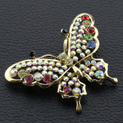 Crystal Brooches Colourful Butterfly Brooch Pins Wedding Accessories