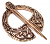 Knotwork Bronze Fibula Celtic Viking Cloak Pin Open Ring Brooch