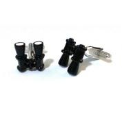 Onyx-Art CK879 Binoculars Shaped Metallic Cuff Links plus FREE Premier Life Store Pen