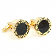 Mens Ladies Greek Style Black Enamel Cufflinks Wedding Formal Business
