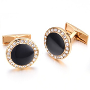 K Mega Jewellery Vintage Cufflinks for Mens Jewellery Shirt Cufflinks, Golden, Black, Round C052