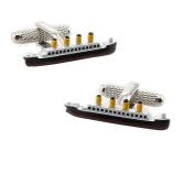 Onyx-Art CK911 Titanic Cruise Shaped Metallic Cuff Links plus FREE Premier Life Store Pen