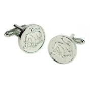 Onyx-Art CK719 Taurus Star Sign Zodiac Circular Shaped Metallic Cuff Links plus FREE Premier Life Store Pen