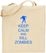 Keep Calm And Kill Zombies Large Cotton Tote Shopping Bag Present Xmas Cool Fun