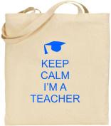 I Cant Keep Calm I'm a Teacher Large Cotton Tote Shopping Bag Present Xmas Cool
