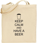 Keep Calm And Have A Beer Large Cotton Tote Shopping Bag Pub Gift Comedy Xmas