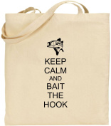 Keep Calm And Bait The Hook Large Cotton Tote Shopping Bag Gift Funny Fishing