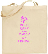 Keep Carp And Carry On Fishing Large Cotton Tote Shopping Bag Gift Fun Fishing