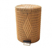 WHH Oval household dustbin. foot European-style living room trash can. creative fashion and lovely garden rattan basket , yellow