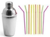 500ml Stainless Steel Cocktail Shaker Set Mixology Party and/or 10 Bendy Straws