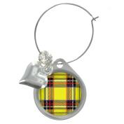 Yellow Tartan Design Wine Glass Charm with Decorative Beads