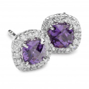 Square Silver Earrings with Purple Zirconia Trends ST952