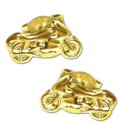"CLEVER Jewellery Golden Earrings Shiny as A Pair ""Motorbike"" in Gift Box 333 GOLD"