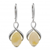 CREAM BALTIC AMBER STERLING SILVER 925 JEWELLERY EARRINGS, KAB-148
