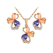 Womens Wedding Jewellery Set Rose Gold Plated Exquisite Crystals Flower Purple Butterfly Pendant Necklace and Stud Earrings