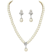 Women's Fashion Pearl Pendant Necklace and earrings Sets for Wedding Party Evening Prom S15097