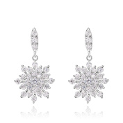 Rhodium Plated and AAA CZ Snowflake Wedding Bridal Drop Earrings