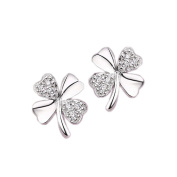 Rhodium Plated and CZ Studded Lucky Four Leaf Clover Stud Earrings