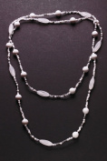 Gorgeous & Cool Mint White /clear Plastic & Chrome Beads Long Charming Necklace