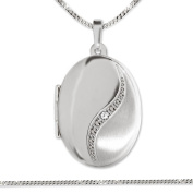 Clever Jewellery Set Silver Pendant Oval Locket 21 mm Matt and Shiny Curved Bow with Zirconia Stones and Curb Chain 55 cm 925 Silver
