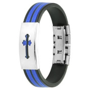 Blue Black Rubber Bracelet with Mediaeval Cross Metal Plate and Adjustable Size for Men and Women Stainless Steel Bracelet Men Bracelet Bracelet Surgical Steel)