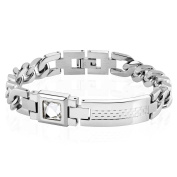 Solid Stainless Steel Bracelet Silver with Patterned Top and Square Crystal Surgical Steel Heart Gem Bracelet Ideal for Men and Women (Ladies 'Bracelet Stainless Steel Case