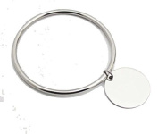 -UK- Stainless Steel Clean. Bangle with Round Plate, Simple