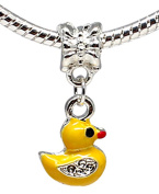 Charm duck painted with yellow enamel colour - fits all type of pandora bracelets & necklaces