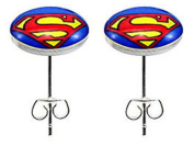 Stainless steel fashion stud earrings - Superman icon