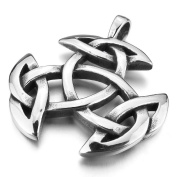 Stainless Steel Celtic Knot Amulet Silver Pendant Mens Womens Necklace with 60cm Chain