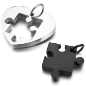 MEDNINO Mens Womens 2PCS Stainless Steel Pendant Necklace Silver Black Jigsaw Puzzle Heart Valentine with 2pcs 60cm Chain