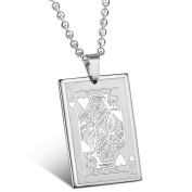 MENDINO Mens King of Hearts Poker Card Punk Rock Silver Stainless Steel Pendant Necklace with 60cm Chain